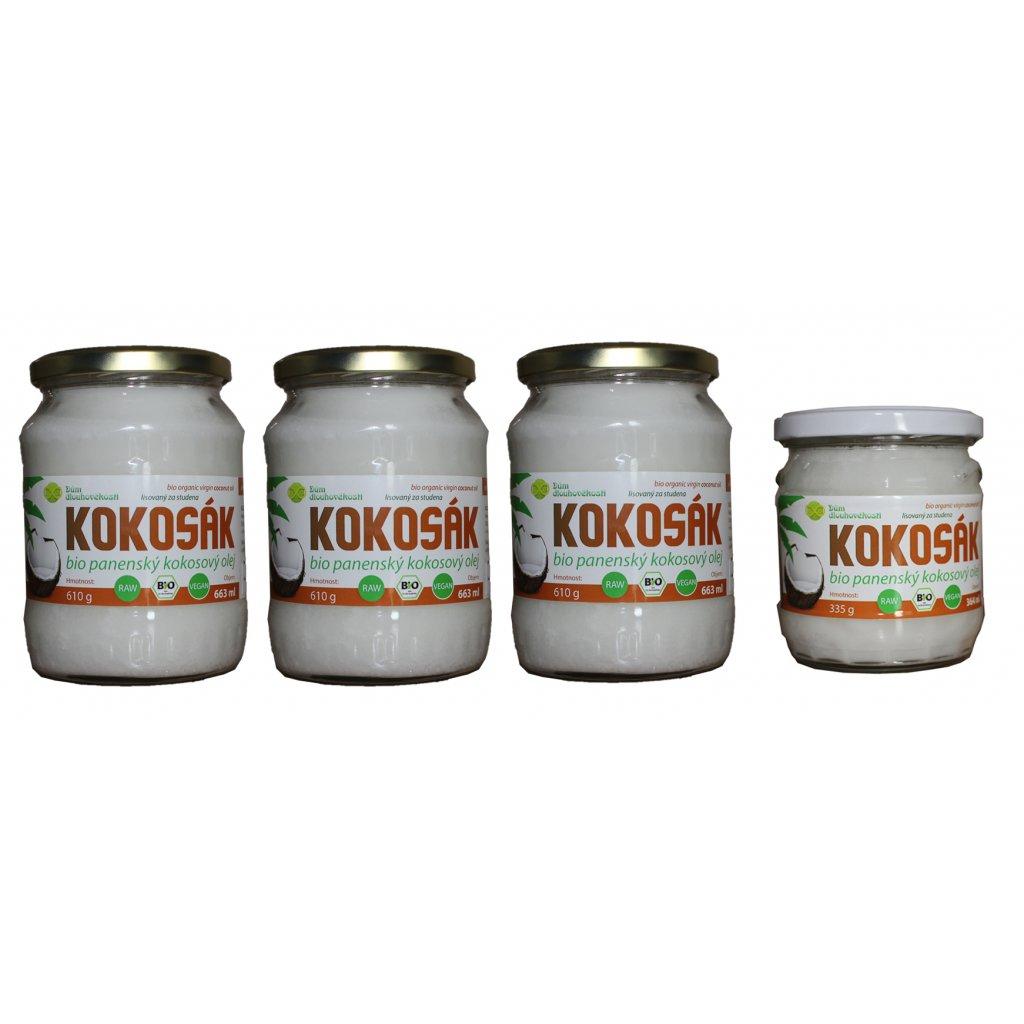 Kokosový olej v bio kvalitě, za studena lisovaný - velká a malá sklenice (663 ml + 364 ml)