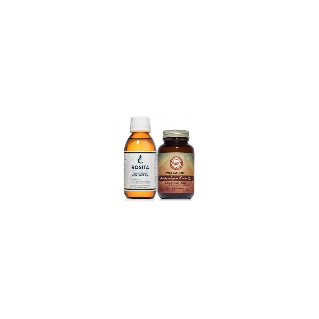 Játrový tresčí olej (150 ml) + Australský Emu olej (118 ml)