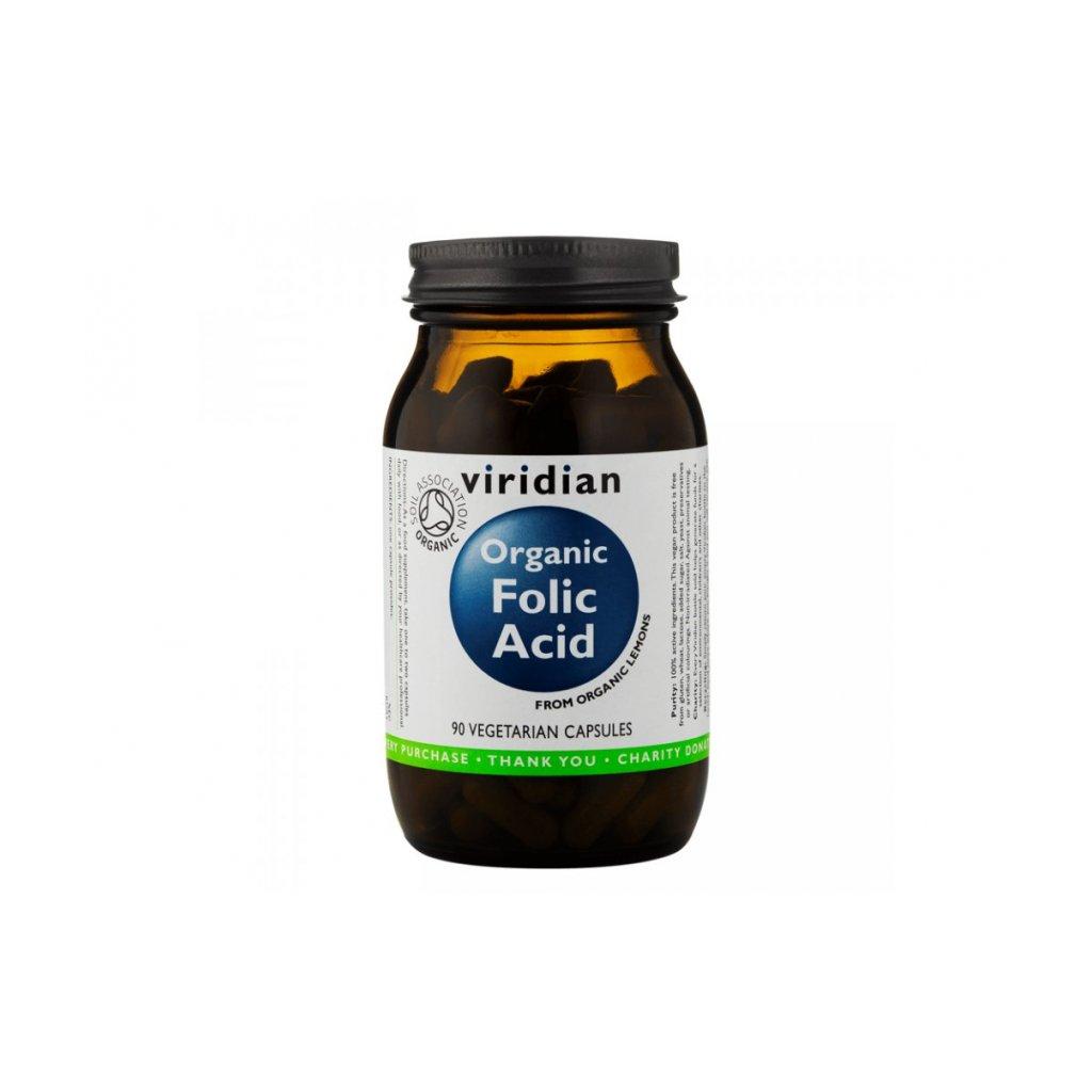 Viridian - Organic Folic Acid, 90 kapslí (expirace 9/2020)