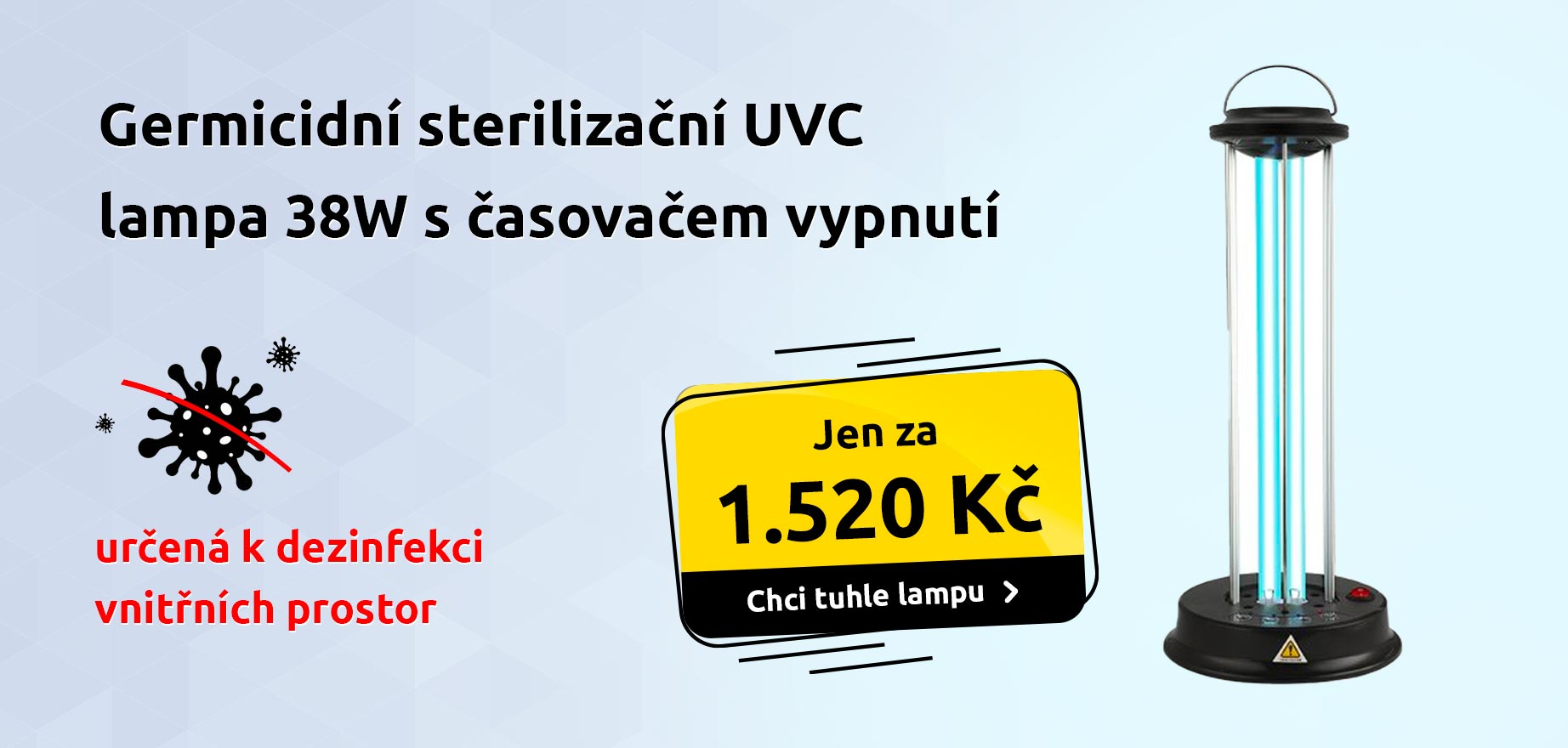 Germicidní sterilizační UVC lampa 38W s časem vypnutí