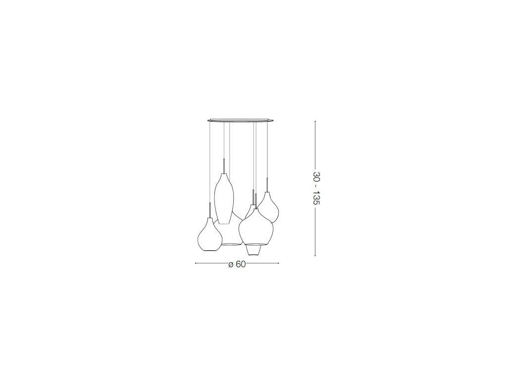 IDEAL LUX 087818 závěsné svítidlo Soft SP6 Bianco 6x40W G9