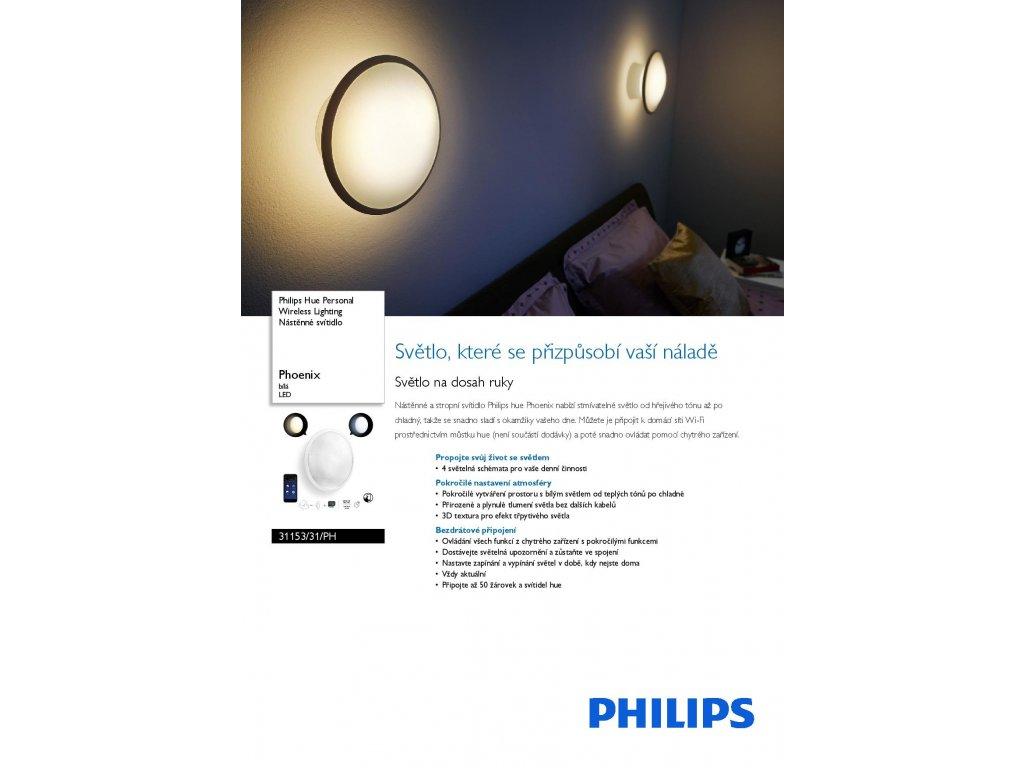 PHILIPS HUE 31153/31/PH nástěnné LED svítidlo phoenix color 1x9W RGB