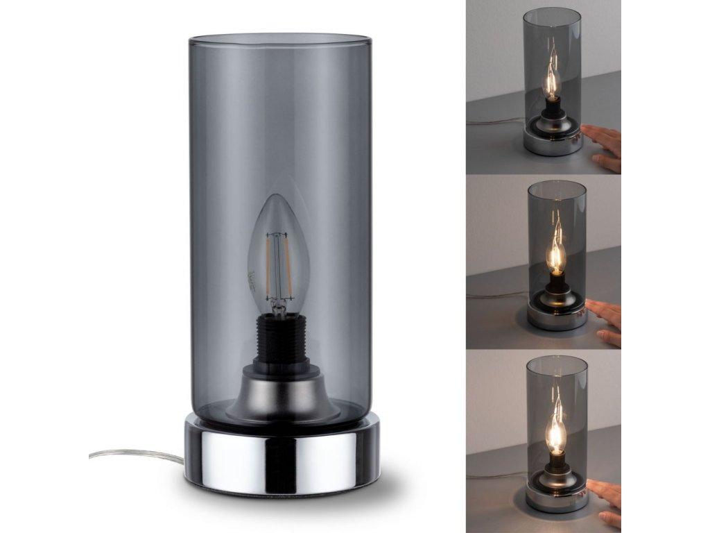 PAULMANN - Stolní lampa Pinano dotykový vypínač chrom/kouřové sklo, P 77056