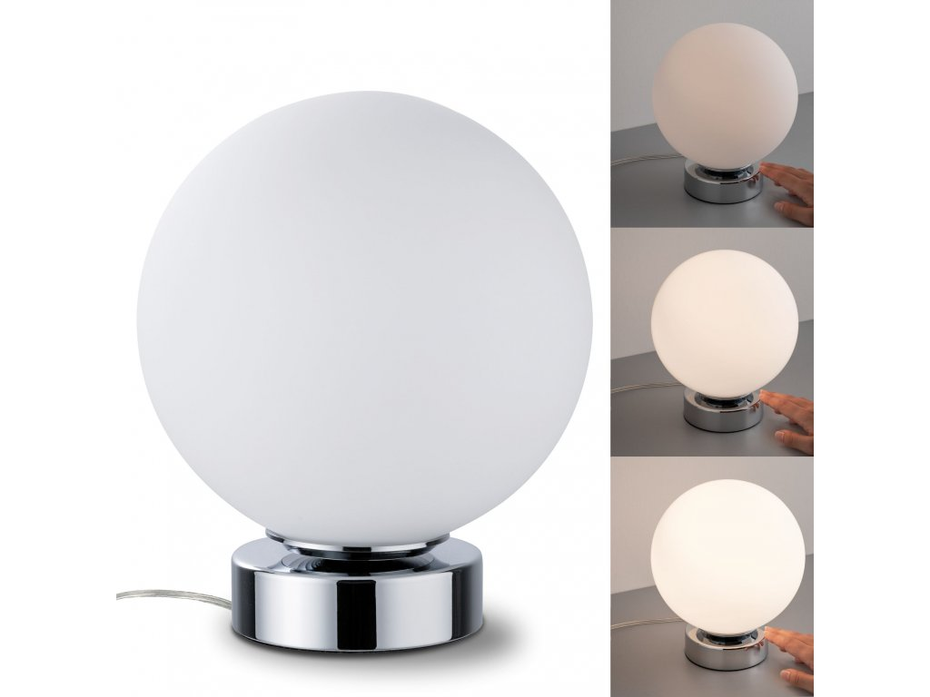 PAULMANN - Stolní lampa Aari dotykový vypínač chrom/opál, P 77057