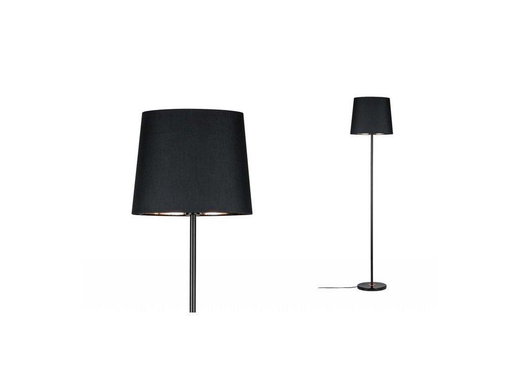 PAULMANN - Stojací lampa Neordic Enja látkové stínidlo černá / měď / mramor, P 79612