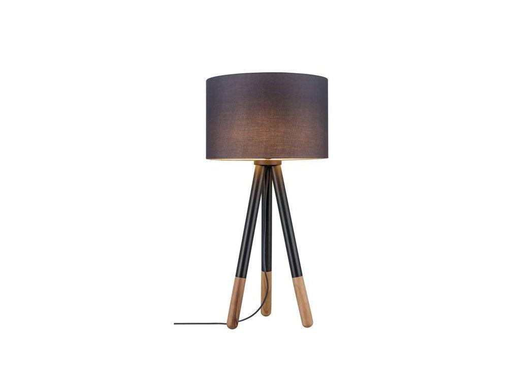 PAULMANN - Stolní lampa Neordic Rurik látkové stínidlo šedé / dřevo, P 79635