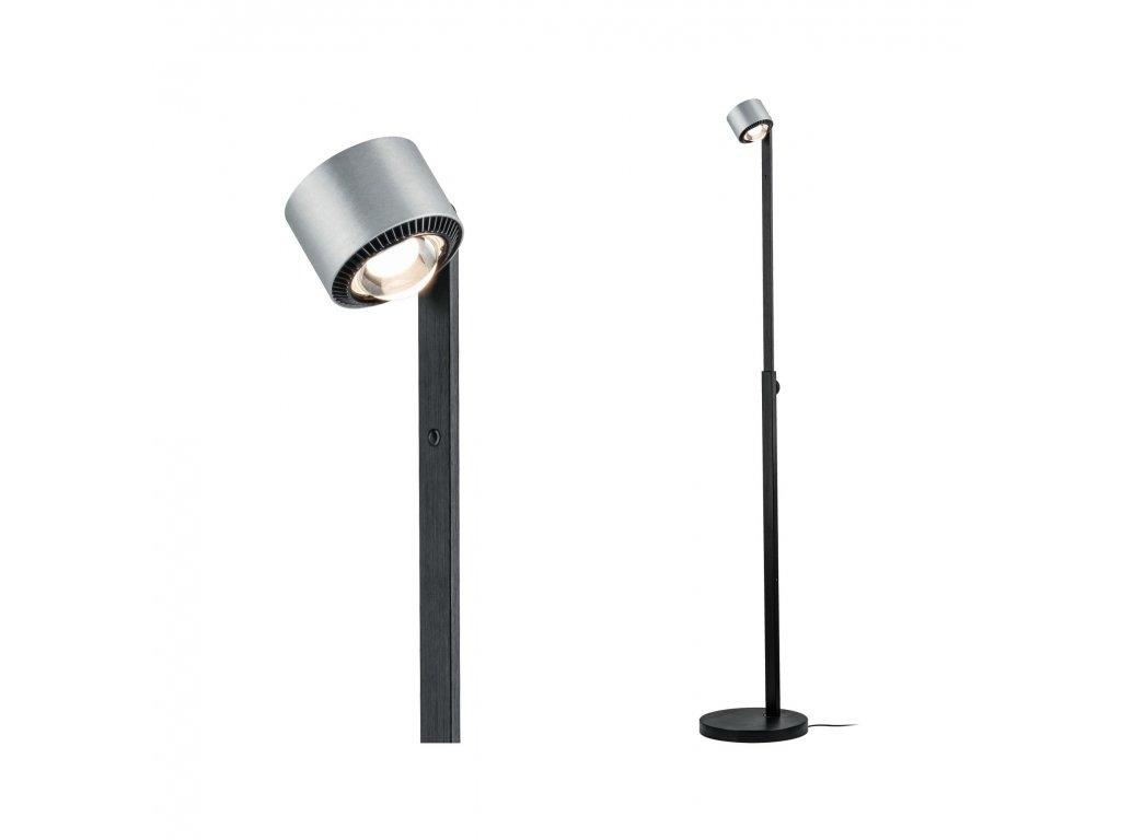 PAULMANN - LED stojací svítidlo Aldan 15,5W černá/hliník kartáčovaný stmívatelné, P 79717