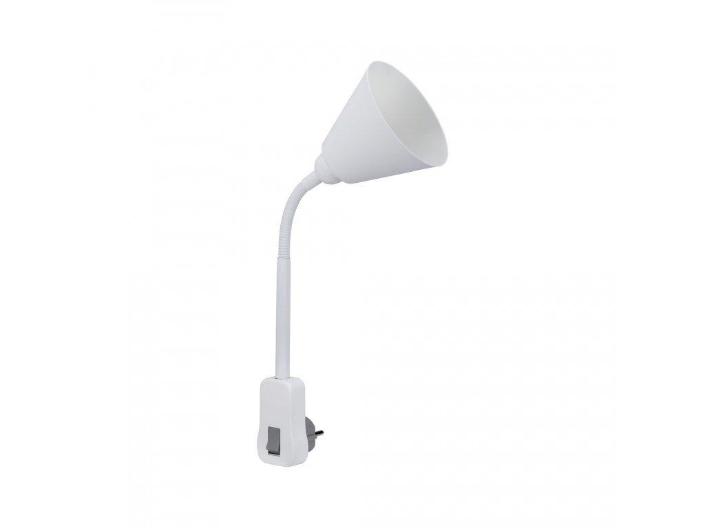 PAULMANN - Svítidlo do zásuvky Junus Flexarm E14 bílá vypínač na lampě, P 95428