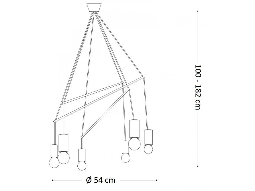 Závěsné svítidlo Ideal Lux Pop SP6 bianco 186795 bílé 54cm