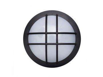 SOLIGHT - LED venkovní osvětlení kulaté s mřížkou, 13W, 910lm, 4000K, IP65, 17cm, černá