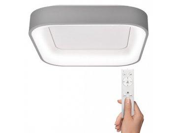 SOLIGHT - LED stropní světlo čtvercové Treviso, 48W, 2880lm, stmívatelné, dálkové ovládání, šedá