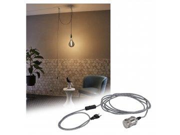 Závěsné svítidlo Neordic Eldar vč. zástrčky E27 max. 1x20W šedá/nikl - PAULMANN