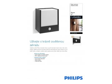 PHILIPS 17317/30/16 venkovní LED svítidlo s čidlem Macaw 1x3W IP44 2700K