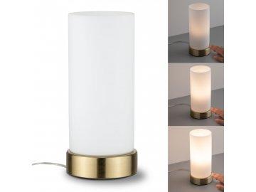 PAULMANN - Stolní lampa Pinano dotykový vypínač mosaz/opál, P 77055