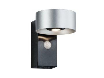 Nástěnné svítidlo Cone IP44 3000K 8W stříbrná/ antracit pohybové čidlo - PAULMANN P 79678