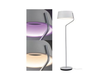 PAULMANN - BLE stojací svítidlo Belaja RGB+W 8W bílá/matný chrom, P 79722