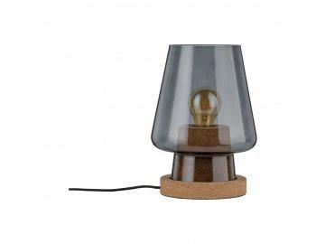 PAULMANN - Stolní lampa Iben kouřové sklo/korek, P 79736