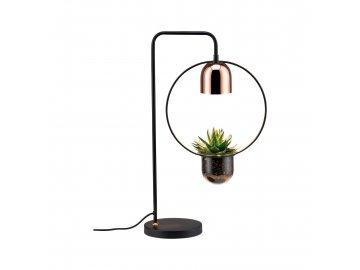 PAULMANN - Stolní lampa Fanja s květináčem černá/měď, P 79746