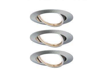 PAULMANN - Vestavné svítidlo LED Base kruhové 3x5W GU10 kov kartáčovaný nastavitelné, P 93420
