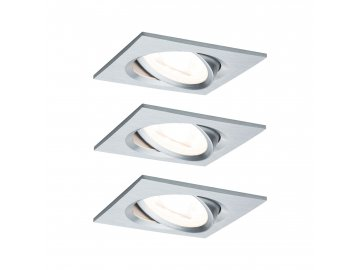 PAULMANN - Vestavné svítidlo LED Nova hranaté 3x6,5W GU10 hliník broušený nastavitelné, P 93438
