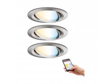 PAULMANN - Zigbee LED vestavná svítidla sada Nova Plus 3x6,5W kov kartáčovaný, P 92962