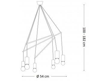 Závěsné svítidlo Ideal Lux Pop SP6 nero 158815 černé 54cm