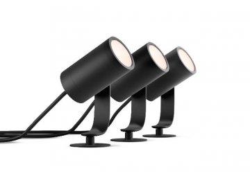 Hue LED White and Color Ambiance Venkovní spotové zemní/ nástěnné svítidlo Philips Lily 17414/30/P7 černé, set 3ks + adaptér