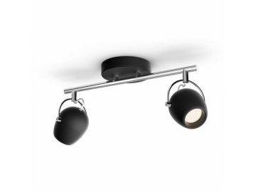 PHILIPS - LED Bodové svítidlo Philips 50612/30/P0 2x4,3W černé 2700K