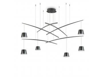 IDEAL LUX - LED Závěsné svítidlo Fish SP6 nero 196992 černé 160cm