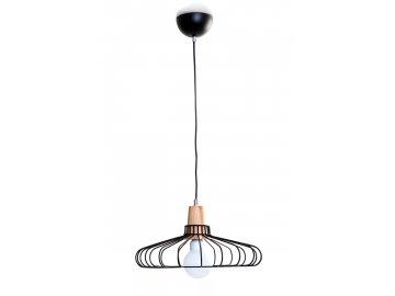 Závěsné svítidlo L/00255 E27 1x60W bez zdroje, černá/dekor dřevo