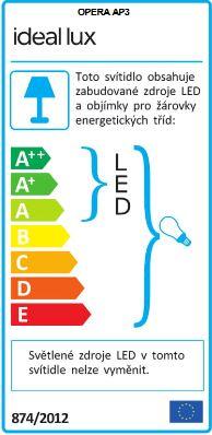 IDEAL LUX 068268 nástěnné LED svítidlo Opera AP3 2x40W E14/