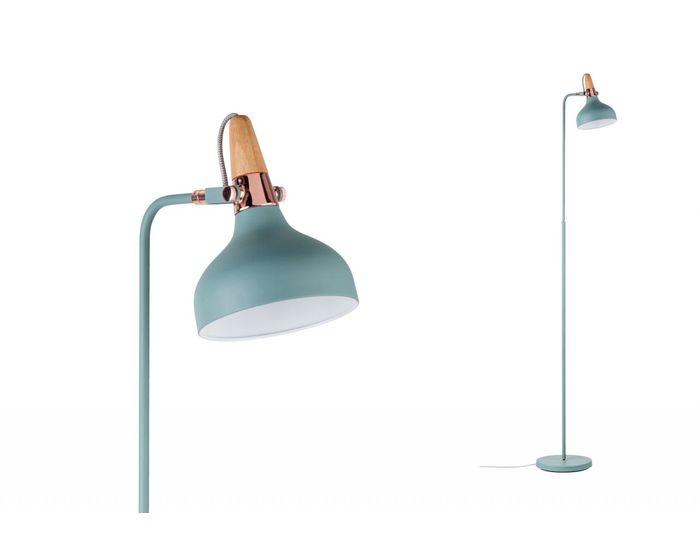 Stojací lampa Neordic Juna zelená / měď / dřevo - PAULMANN P 79654