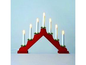 """Adventní svícen """"čirá"""" 2262-510 dřevěný červený, LED Filament 7x34V/0,2W  BF"""