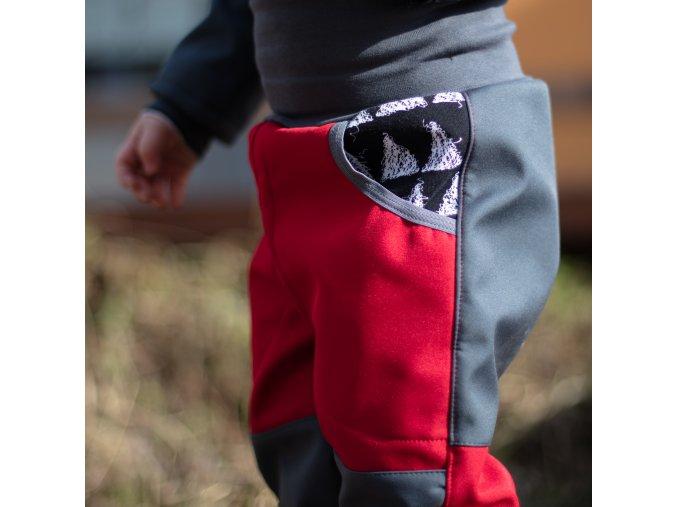 DUPETO rostouci softshellove kalhoty venku cerveny triangl 2