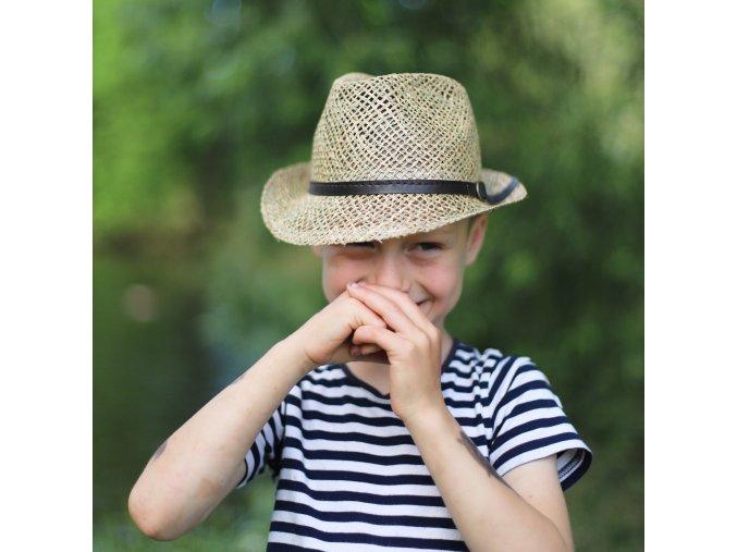 Dětský slaměný klobouk na léto s řemínkem