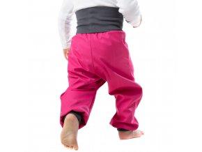 Jarní Softshellové kalhoty pro batolata růžové