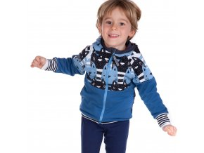 DUPETO mikina na zip kocky modre 1