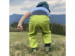 Podzimní/Jarní Softshellové kalhoty pro batolata limetkové 30/15 tis.
