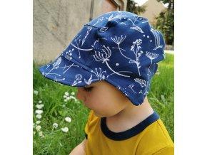 Čepice s kšiltem modrotisk