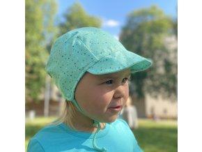 Čepice s kšiltem puntík barevný mentol