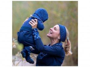 Merino čelenka modrý puntík