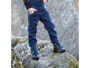 Rostoucí softshellové kalhoty modré borůvky