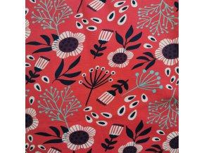 Šaty květy na červené