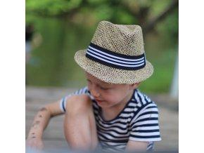 Dětský slaměný klobouk na léto ČB stuha