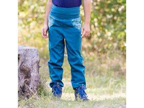 DUPETO 1x1 rostouci softshellove kalhoty listky petrolejove 3