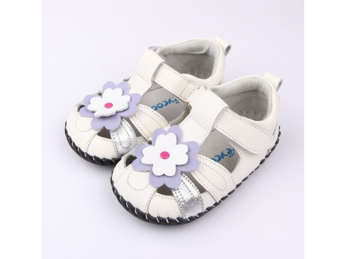 Sandálky Kvetinka - biela - Freycoo