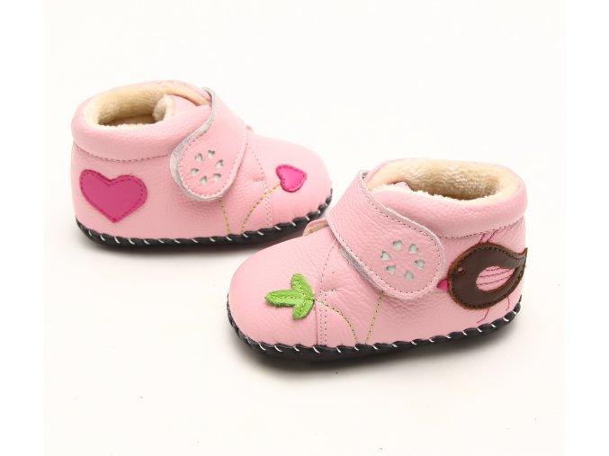 Topánky s vtáčikom - ružová - Freycoo