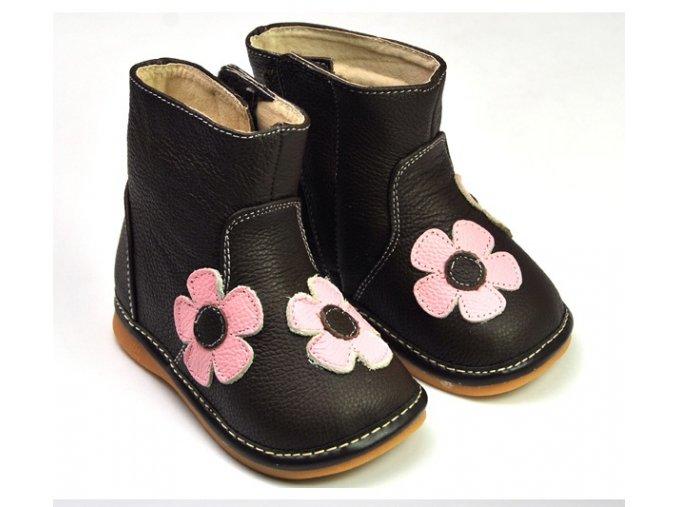 Čižmičky s kvetmi - hnedá - Freycoo