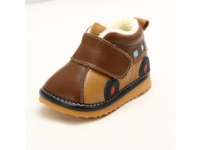 Topánky autíčko - hnedá - Freycoo