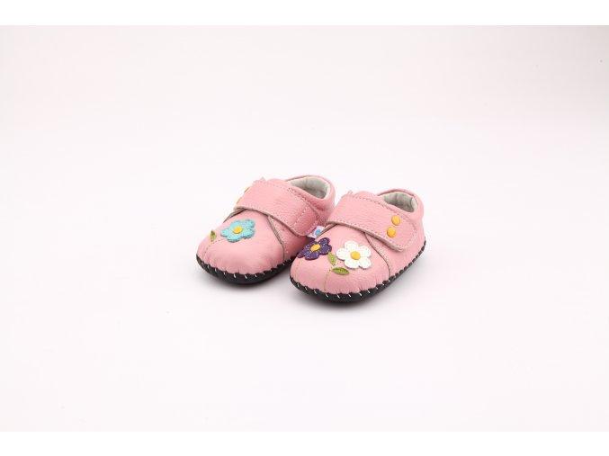 Topánočky s kvietkami - ružové - Freycoo